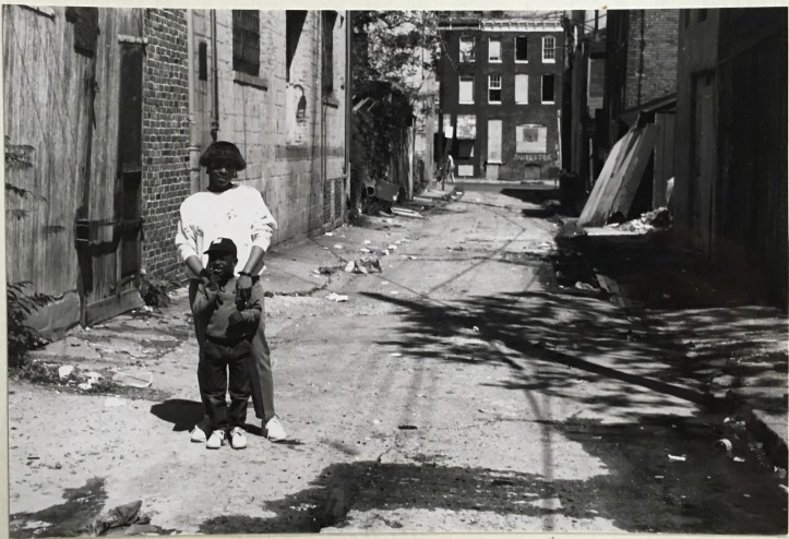 Mother and son near Hollins Street, Baltimore, 1988.