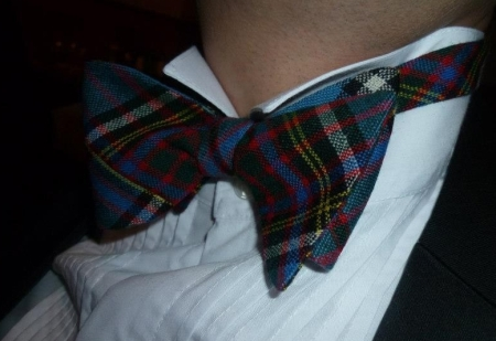 My tartan bow tie, tis Anderson of course, made from a neck tie, the original source
